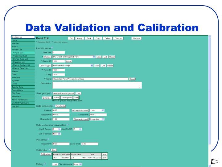 Data Validation and Calibration