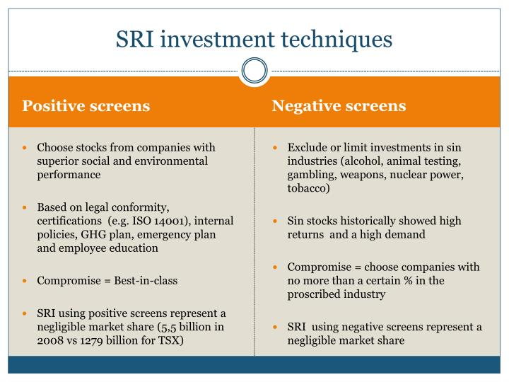 SRI investment techniques
