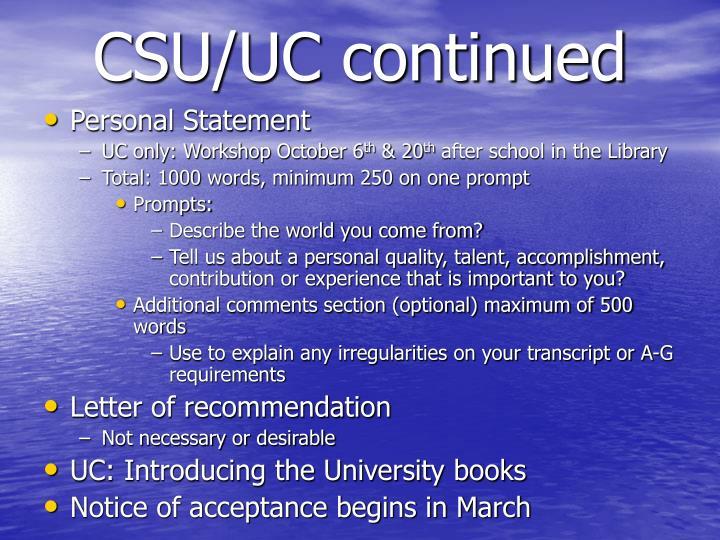 CSU/UC continued