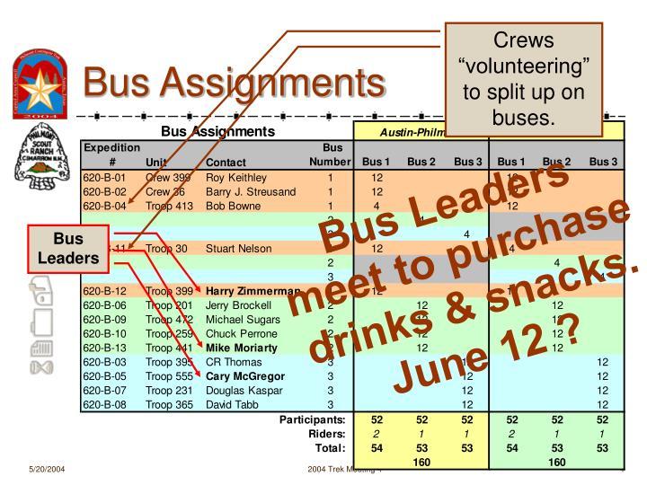 """Crews """"volunteering"""" to split up on buses."""