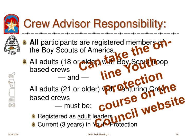 Crew Advisor Responsibility: