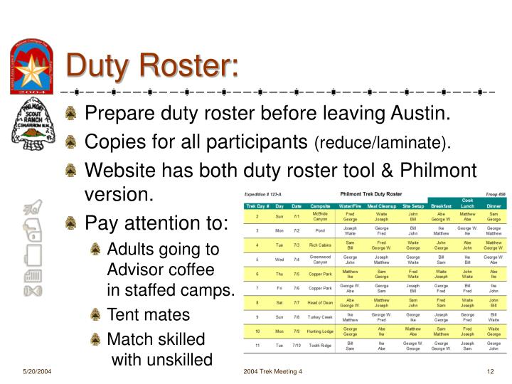 Duty Roster: