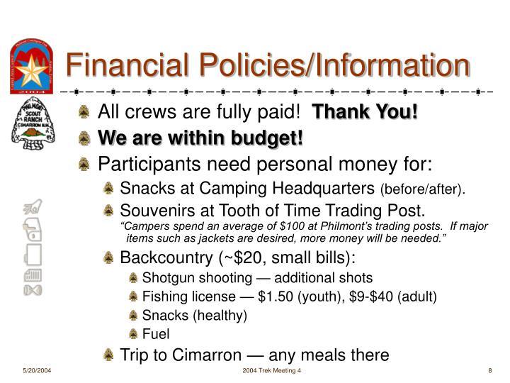 Financial Policies/Information