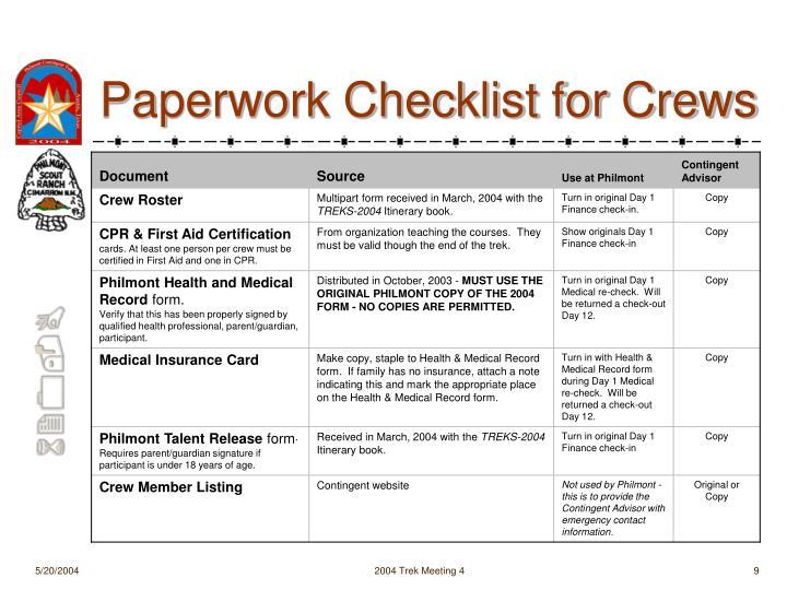 Paperwork Checklist for Crews