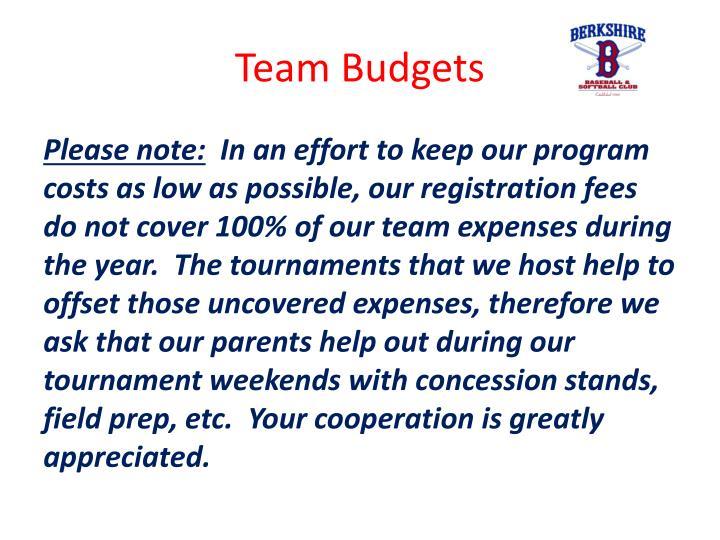 Team Budgets