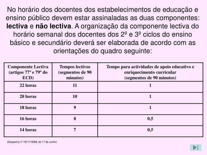 No horário dos docentes dos estabelecimentos de educação e ensino público devem estar assinaladas as duas componentes: