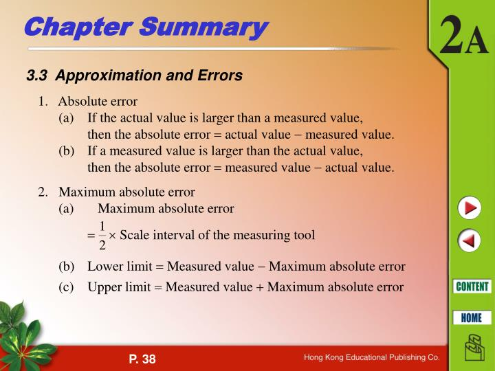 3.3  Approximation and Errors