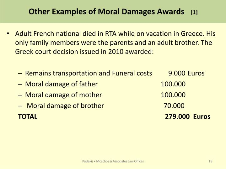 Other Examples of Moral Damages Awards