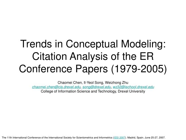 trends in conceptual modeling citation analysis of the er conference papers 1979 2005 n.