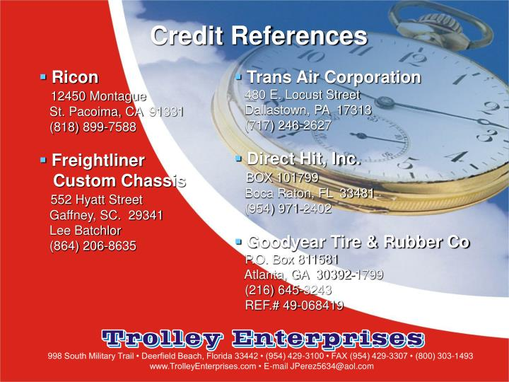 Credit References