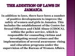 the addition of laws in jamaica