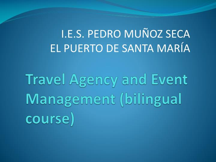 travel agency and event management bilingual course n.