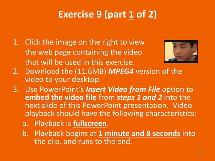 Exercise 9 (part