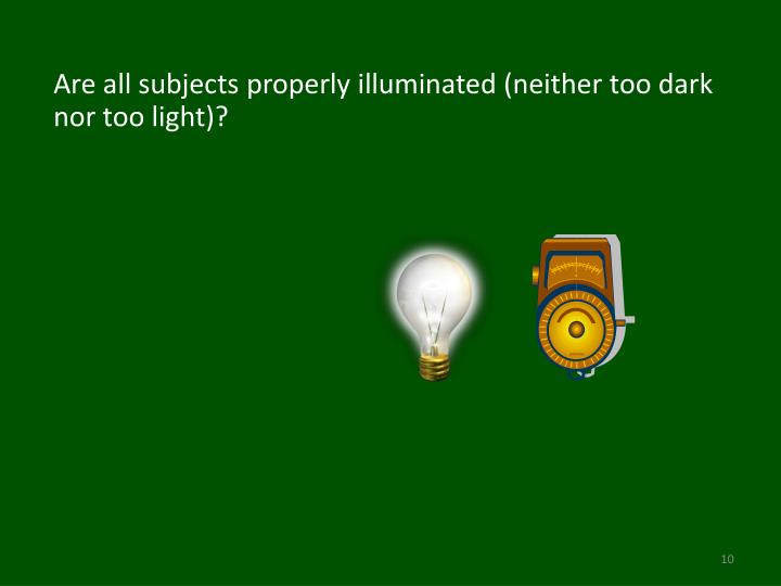 Are all subjects properly illuminated (neither too dark nor too light)?