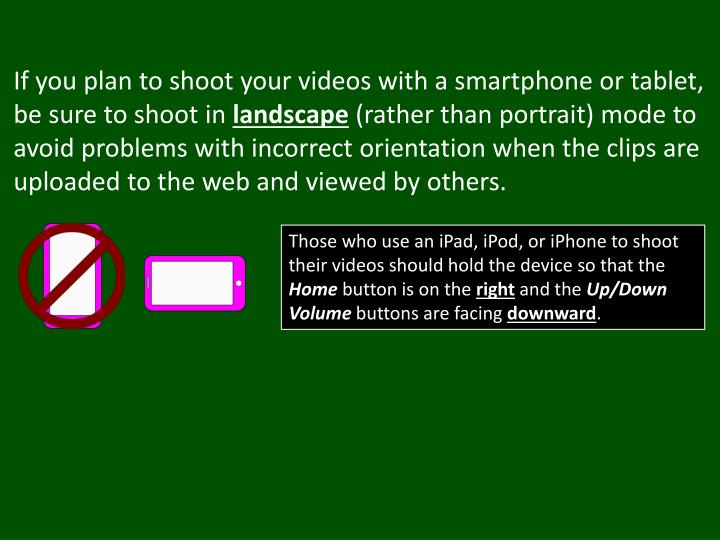 If you plan to shoot your videos with a smartphone or tablet, be sure to shoot in