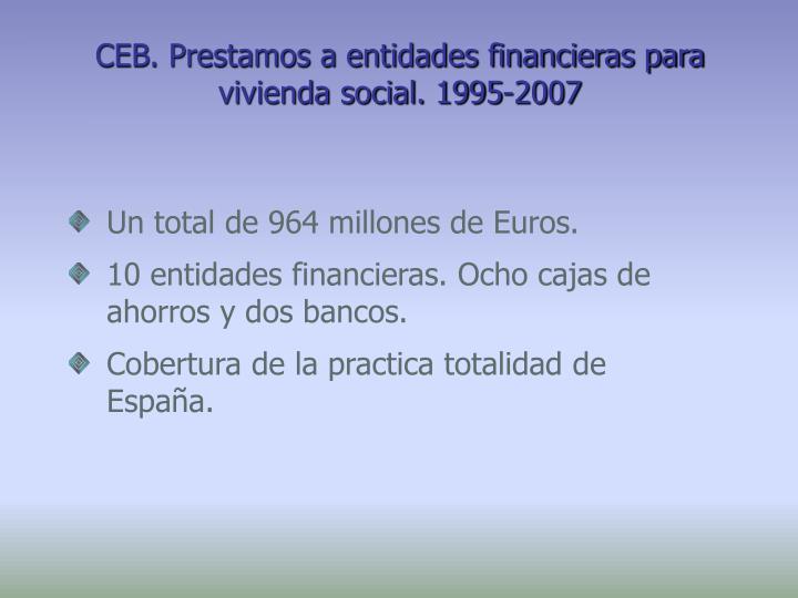 CEB. Prestamos a entidades financieras para vivienda social. 1995-2007