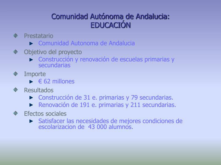 Comunidad Autónoma de Andalucia:
