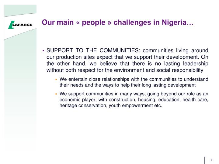 Our main «people» challenges in Nigeria…