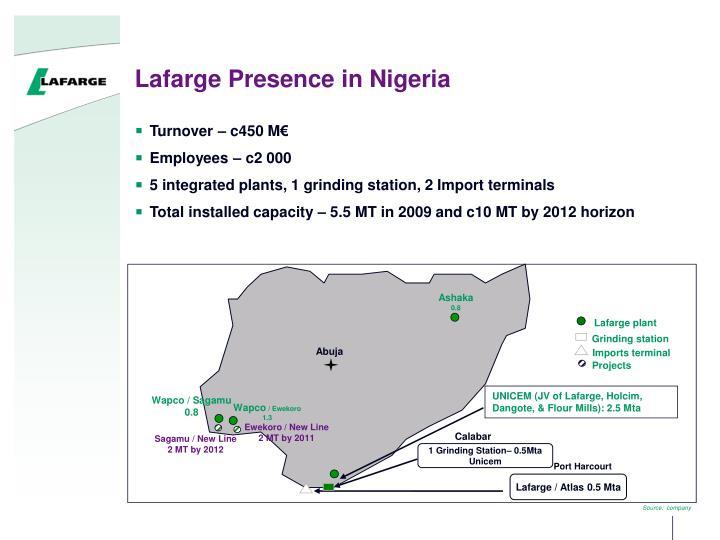 Lafarge Presence in Nigeria