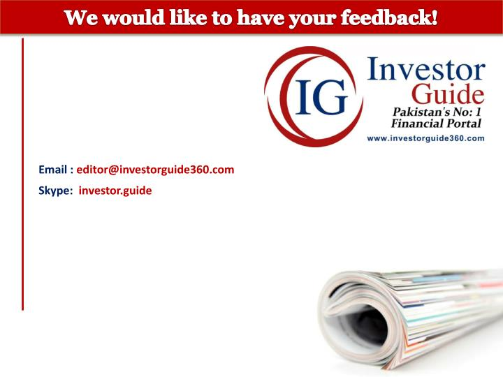 We would like to have your feedback!