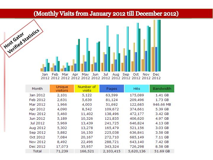 (Monthly Visits from January 2012 till December 2012)