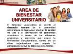 area de bienestar universitario