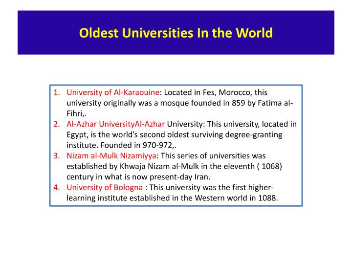 Oldest Universities In the World