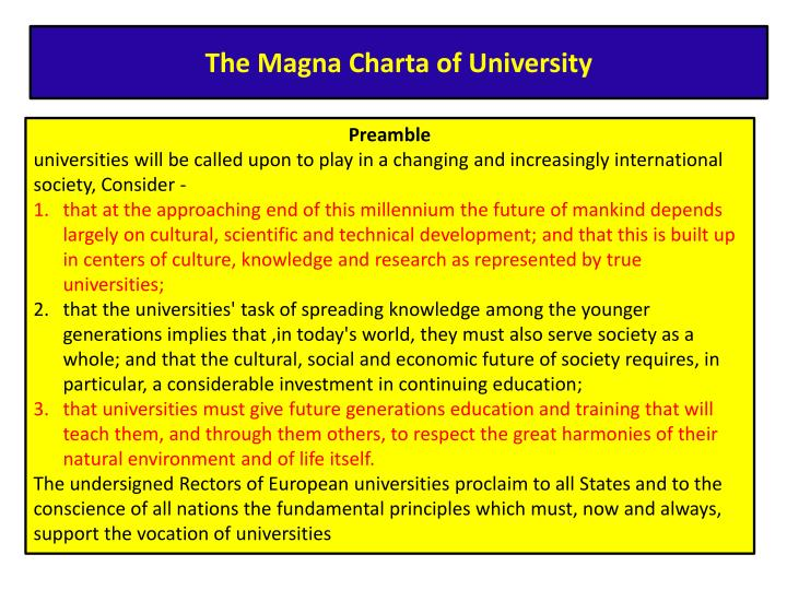 The Magna Charta of University