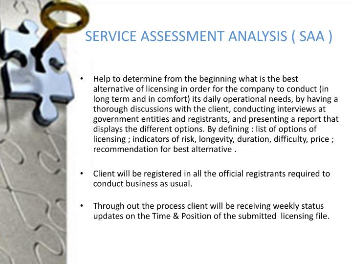 SERVICE ASSESSMENT ANALYSIS ( SAA )