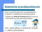statistick pravd podobnost