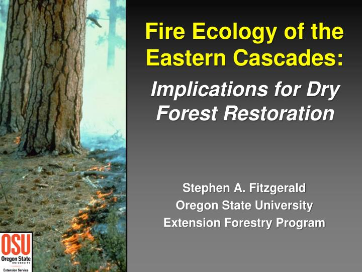 fire ecology of the eastern cascades implications for dry forest restoration n.