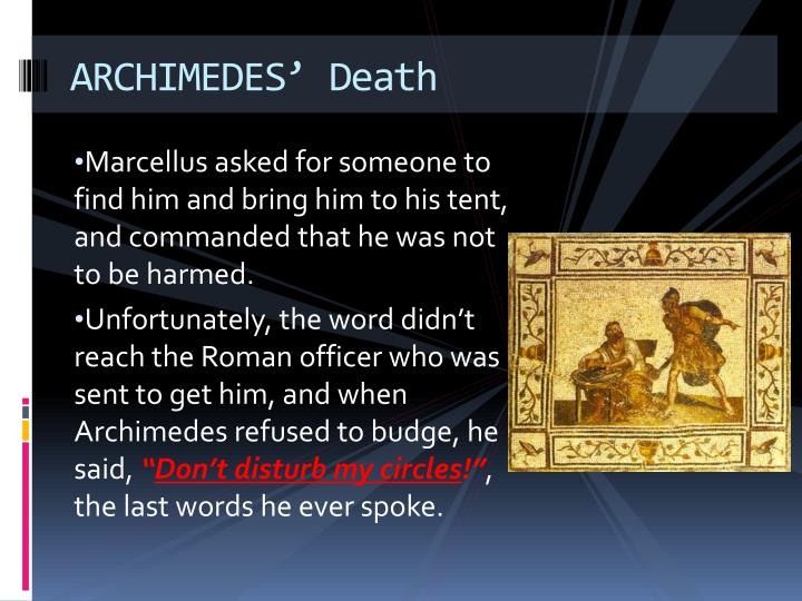 ARCHIMEDES' Death