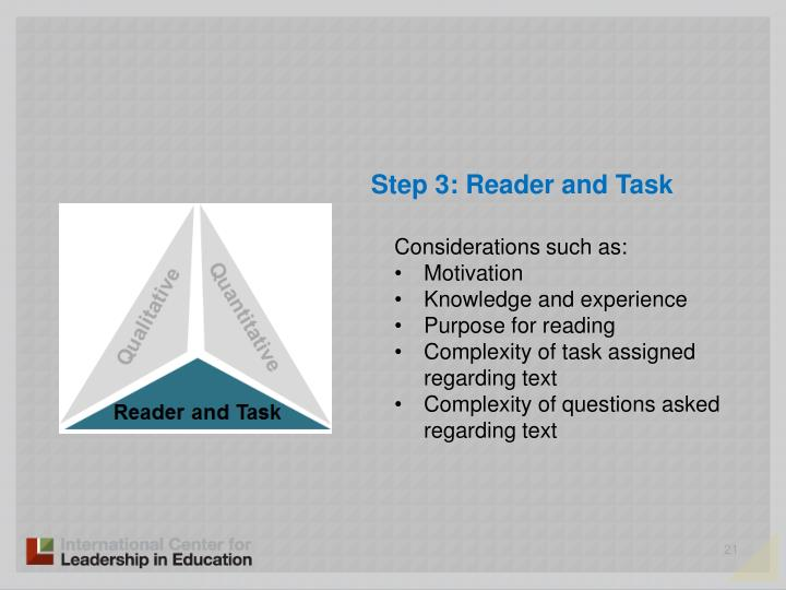 Step 3: Reader and Task
