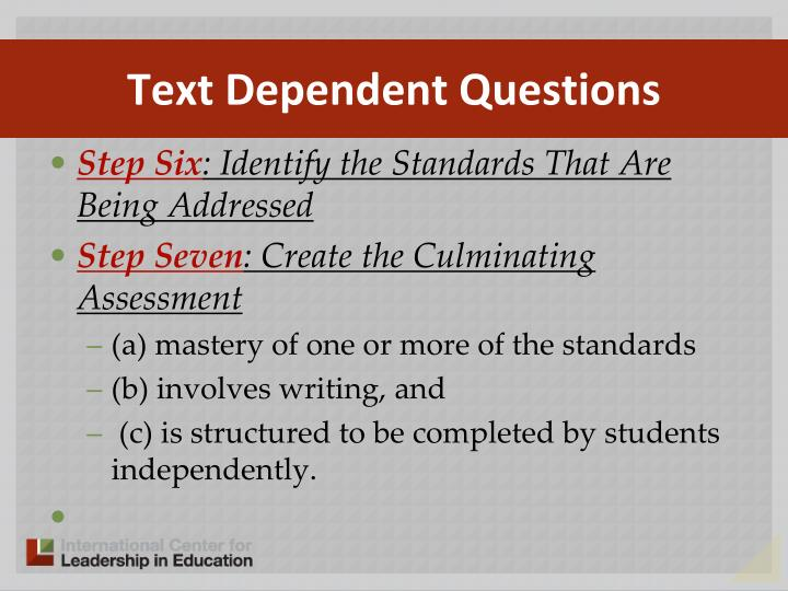 Text Dependent Questions