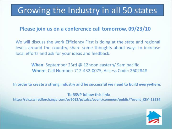 Growing the Industry in all 50 states
