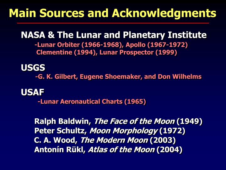 Main Sources and Acknowledgments