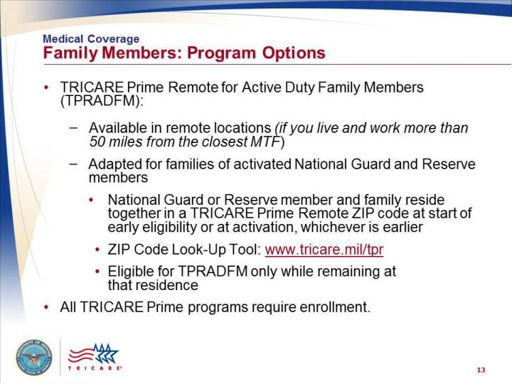 Medical Coverage: Family Members – More Program Options