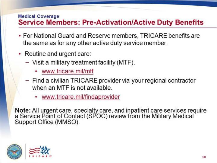 Medical Coverage: Service Members – Pre-Activation and Active Duty Benefits