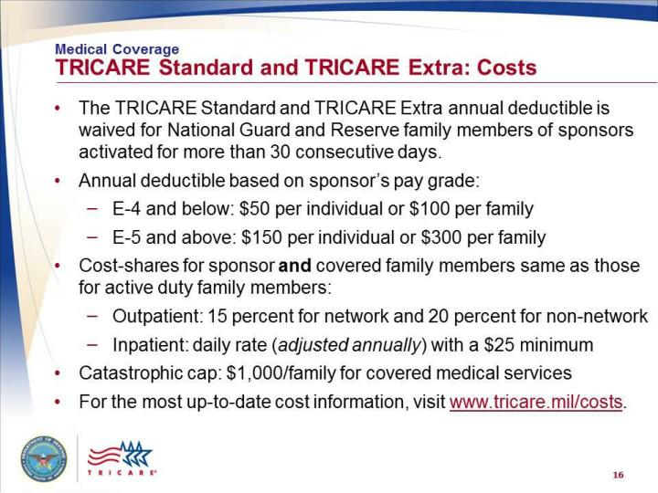 Medical Coverage: TRICARE Standard and