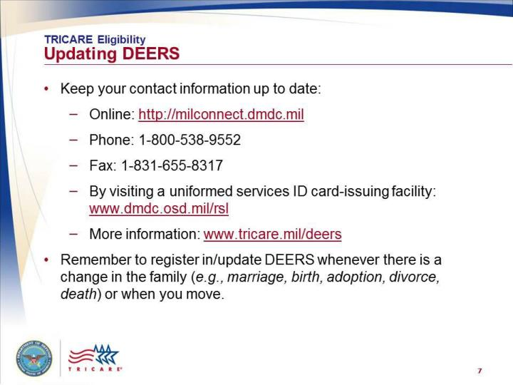 Tricare eligibility updating deers