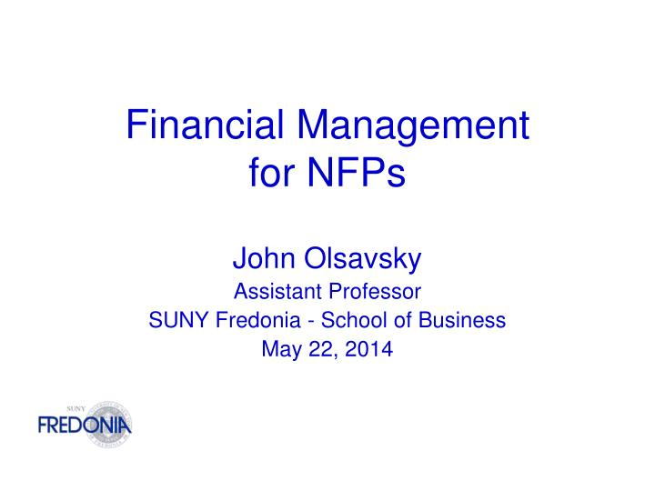 financial management for nfps n.