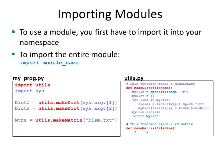 Importing Modules