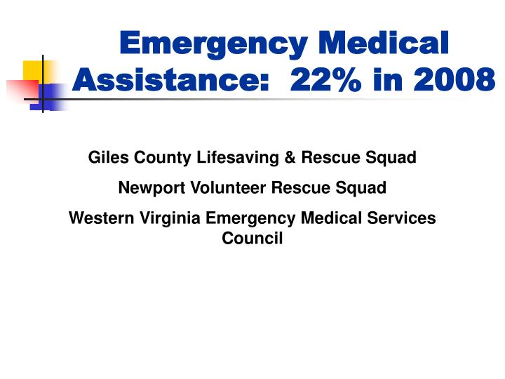 Emergency Medical Assistance:  22% in 2008