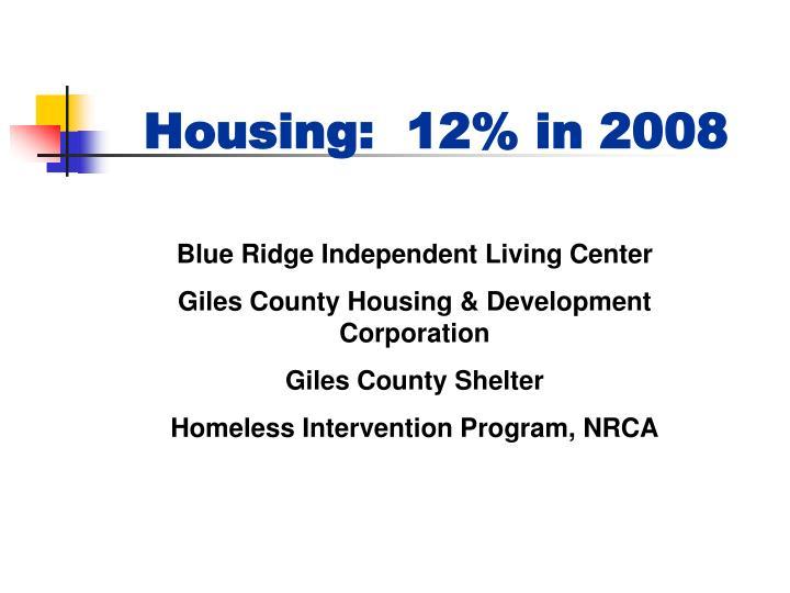 Housing:  12% in 2008