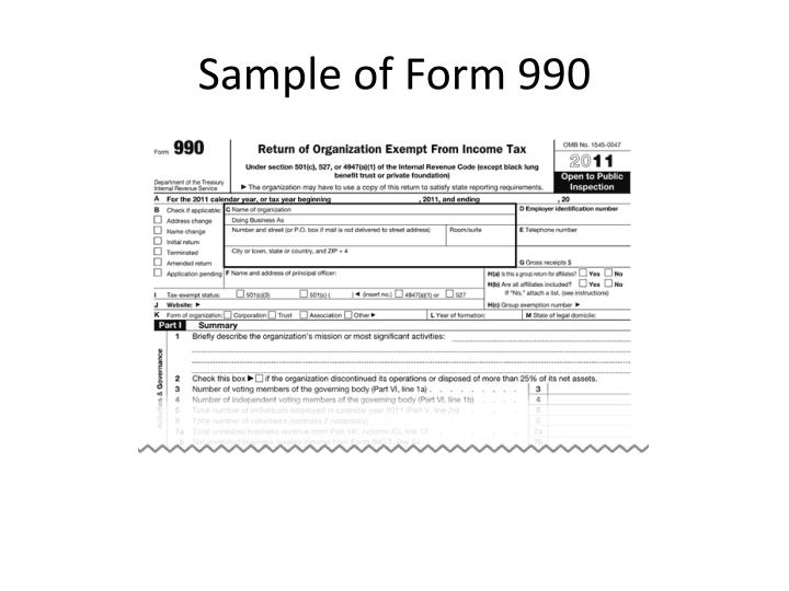 Sample of Form 990