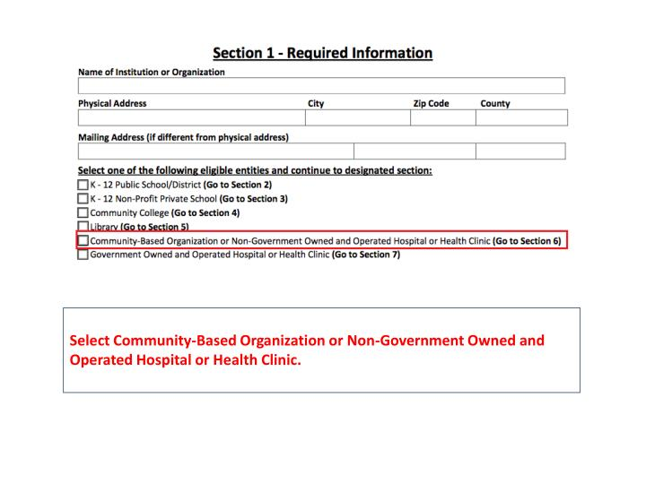 Select Community-Based Organization or Non-Government Owned and Operated Hospital or Health Clinic.
