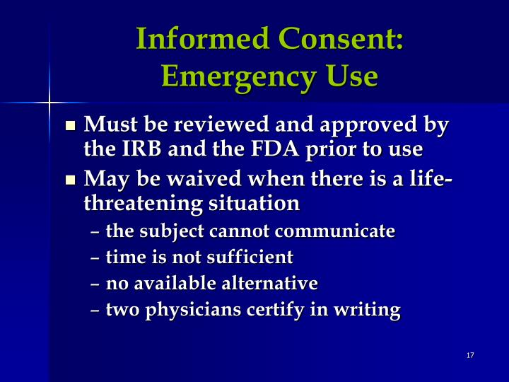 Informed Consent:  Emergency Use