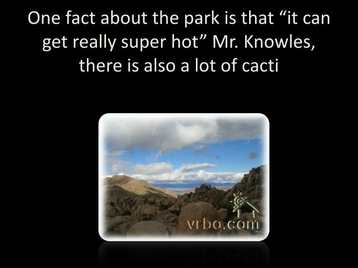 """One fact about the park is that """"it can get really super hot"""" Mr. Knowles, there is also a lot of cacti"""