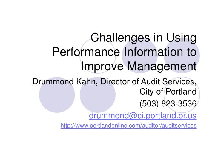 challenges in using performance information to improve management n.