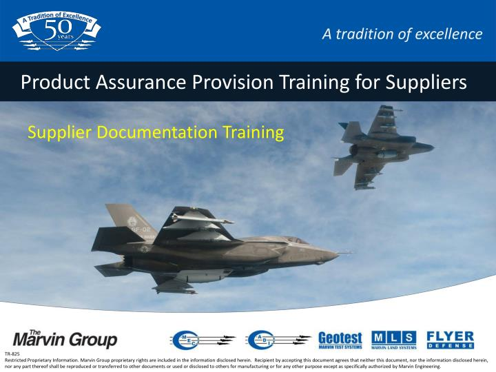 product assurance provision training for suppliers n.